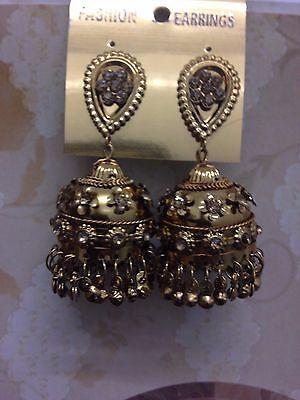 Neu Indisch Bollywood Kostüm Schmuck Ohrringe Jumki Jhumka Bronze Gold - Vintage Kostüm Schmuck Ohrringe