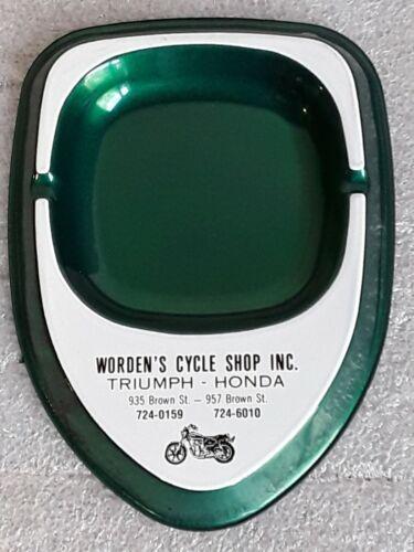 vintage Triumph Honda Motorcycle Worden Cycle Shop ASH TRAY Akron OH advertising