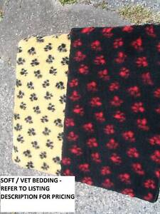 NEW -VET/DRY BEDDING WITH EDGING - 5 SIZES/4 COLS - FROM $10