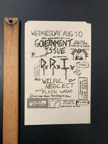 Vtg Punk Concert Flyer Government Issue DRI Wilful Neglect Los Angeles LA