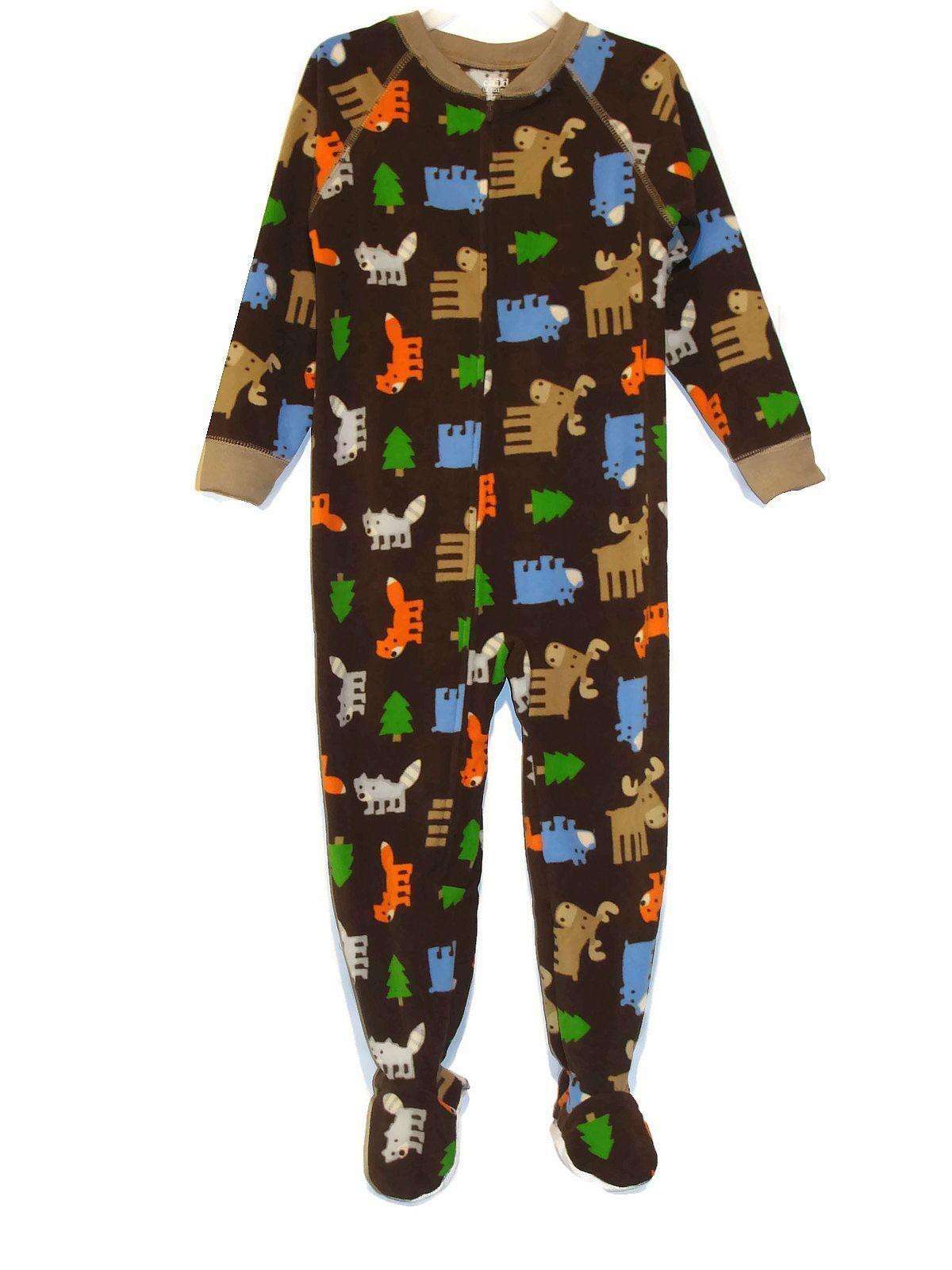 NWT Carters Husky Dog Forest Animals Toddler Boys Footed Fleece Sleeper Pajamas