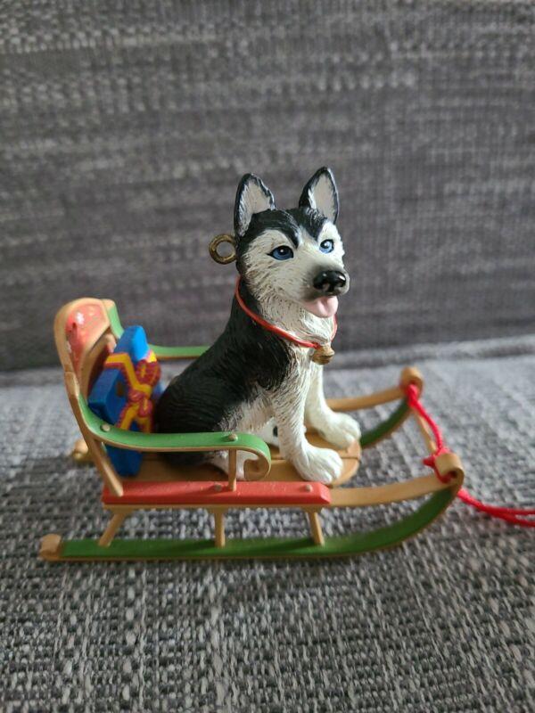 Carlton Cards Ornament Howliday-Bound Siberian Husky on Sled