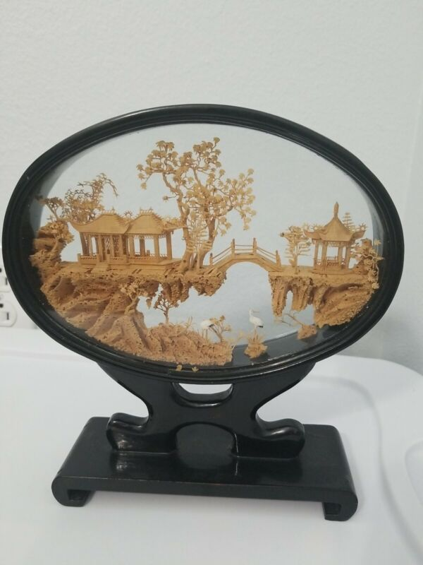 VTG Asian Chinese Hand Carved Cork 3D Diorama Art Sculpture Shadowbox Decor 9x10