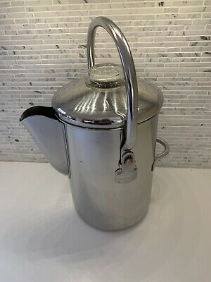Vintage Kitchen Coffee Percolator Stainless Steel Stovetop Camping 14 Cup NICE!