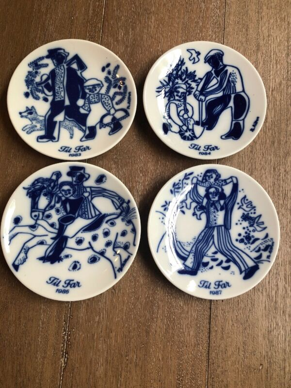 4 Porsgrund Fathers  Day Plates 1983,1984,1986,1987 5.25""
