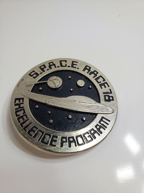 Vintage Space Race '78 Excellence Program 3 inch Belt Buckle