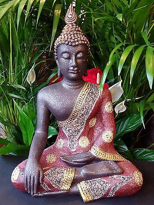XL Thai Buddha Budda Figur Statue Feng Shui sitzend schwarz rot gold ca 50 cm