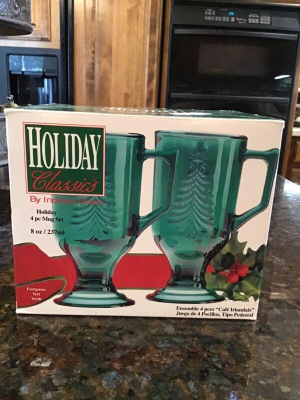 4 Vintage Green Indiana Glass Holiday Christmas Tree Irish Coffee Mug In Box #2