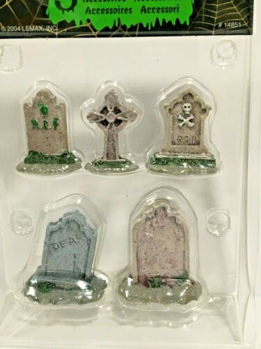 NEW LEMAX SPOOKY TOWN SET OF 5 TOMBSTONES #14851 FREE SHIP