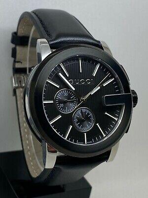 Gucci Men's G-Chrono Black Leather Band Quartz Watch YA101205