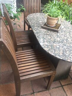 Sturdy timber out door dining chairs x 3
