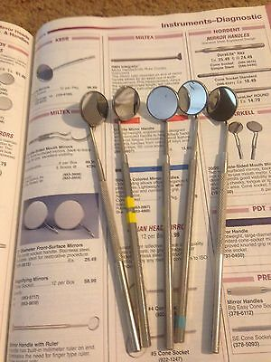 5 Miltex Dental Mirrors With Stainless Steel Handles Retail Heads 25.49 Each