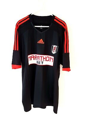 Fulham Away Shirt 2014. XL. Adidas. Black Adults Short Sleeves Football Top Only image