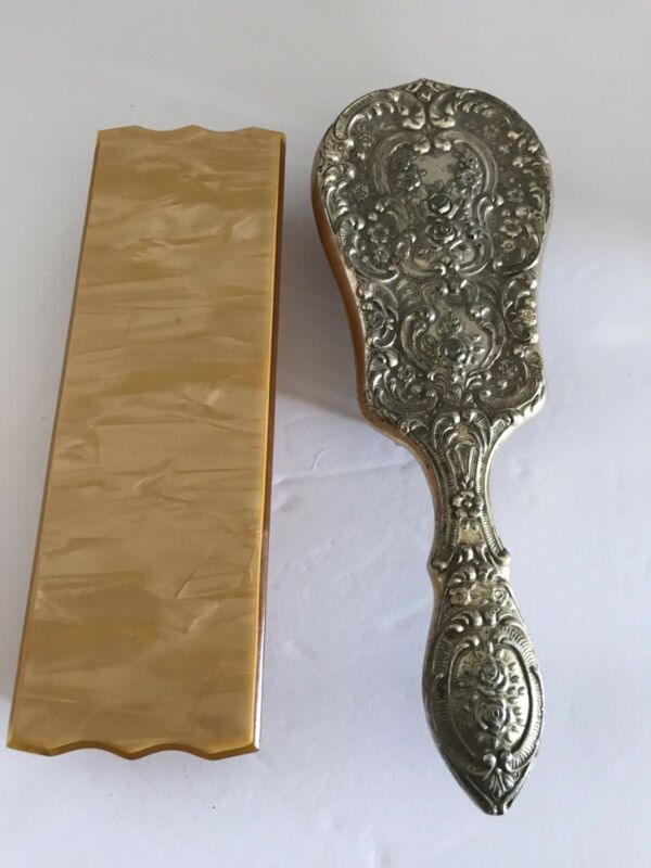 "VINTAGE EMBOSSED SILVER PLATE ORNATE 8"" FLORAL DESIGN BRUSH & CELLULOID BOX"