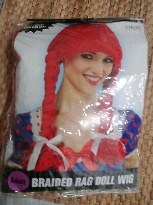 Red Rag Doll Wig Raggedy Ann Pigtails Wendy's Adult Womens