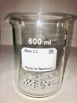 Beaker 600 Ml Borosilicate Glass 3.3 Low Shape With Spout Graduated