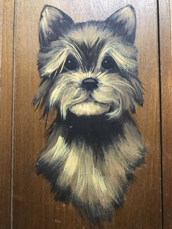 Vintage YORKIE Yorkshire Terrier Painting Hand Painted Wood Panel Signed 12x5""