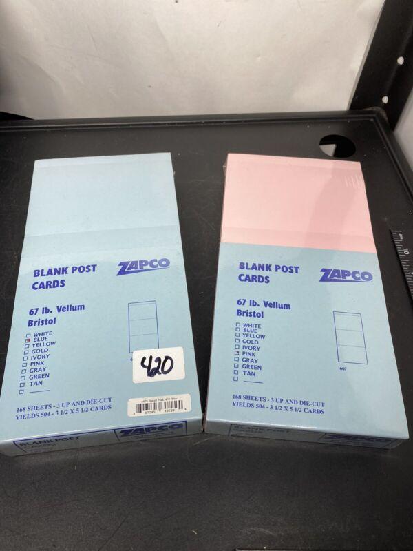 "Zapco 5 1/2"" X 3 1/2"" Blank POST CARD 5 1/2"" X 10 1/2"" SHEET, 1,008 Postcards"