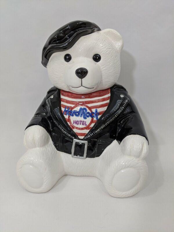 "1997 ""Biker Bear"" Hard Rock Hotel Ceramic Cookie Jar By Lotus"