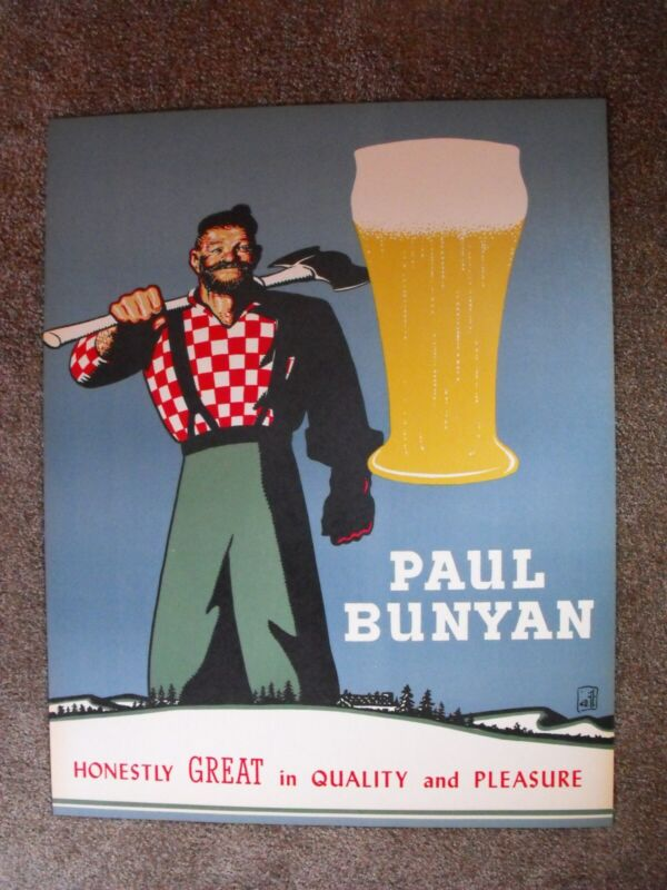 VINTAGE PAUL BUNYAN BEER POSTER SIGN 1950s 1960s CAN BOTTLE GLASS MARSHFIELD NOS