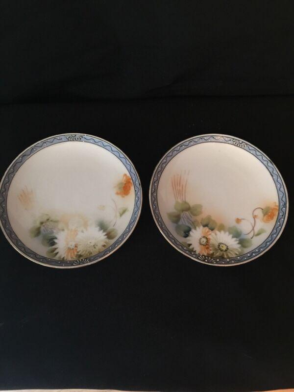 Antique 2 plates ~ hand painted ~ Japan