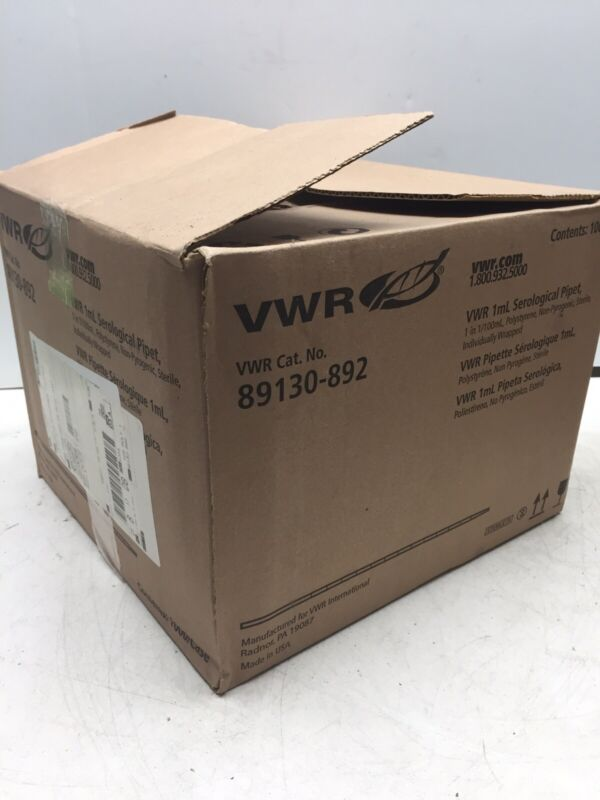 NEW - CASE OF 1000 vwr 89130 1mL SEROLOGICAL PIPET PIPETTES