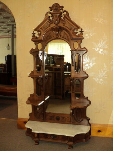 Antique Walnut Victorian Etagere, Display Shelves, Marble Base