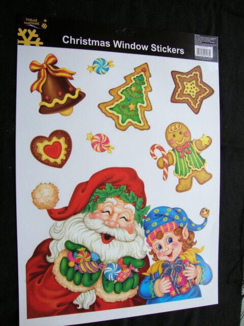 Large Glitter Christmas Window Stickers - Santa & Gingerbread CHEAP DECORATION