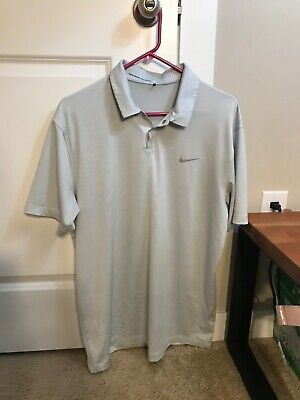 Nike DRI-Fit Tiger Woods Collection Golf Polo Mens Medium - Silver