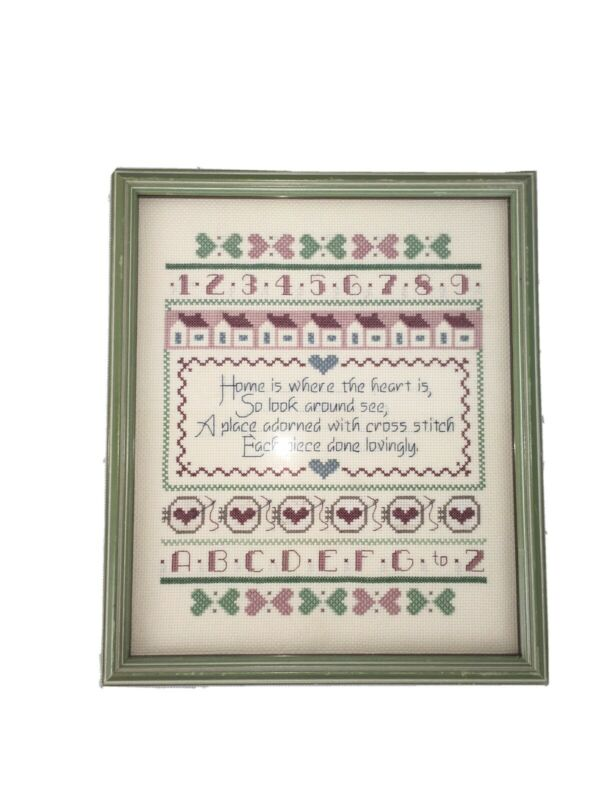 Vintage Counted Cross Stitch Sampler Professionally Framed 13 X 11.