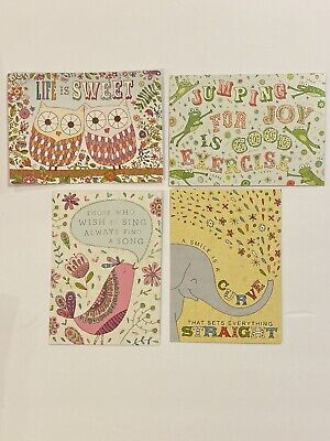 New Box Of 20 LIFE IS SWEET Note Cards Owls Frog Bird Graphique Embellished