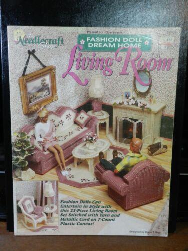 Plastic canvas DREAM HOME LIVING ROOM Barbie fashion doll pattern book