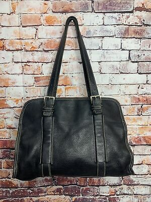 Authentic Prada large tote leather shoulder bag black Vintage NICE