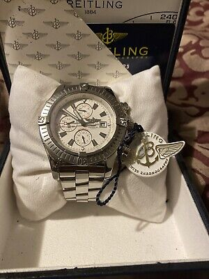 Breitling Super Avenger A13370 48mm Stainless Steel Chrono White Watch Authen