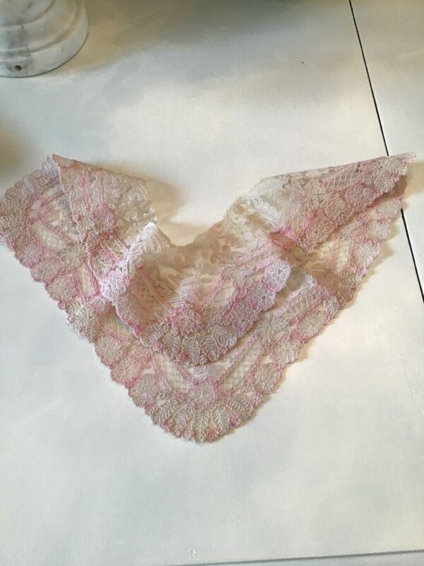 Vtg Antique Pink Net Lace Remnant Handkerchief Piece old lace tambour