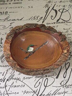 Wood Bowl Sassafras  Hummingbird Handmade Love Edge Artist Signed Nature OOAK