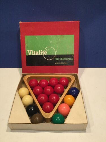 Vintage Vitalite 1 5/8th Snooker Balls And Wooden Triangle