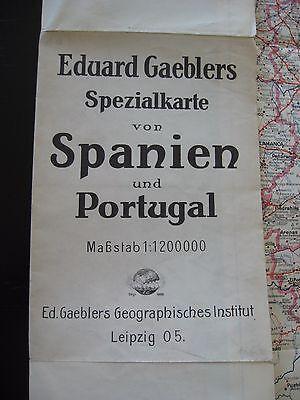 alte Karte Landkarte Eduard Gaeblers Spezialkarte von Spanien u.Portugal