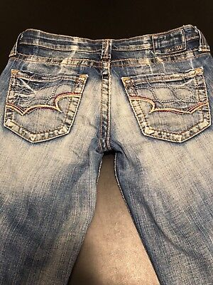 "(Women's Big Star Casey Crop Blue Jeans Size 28X21"" )"