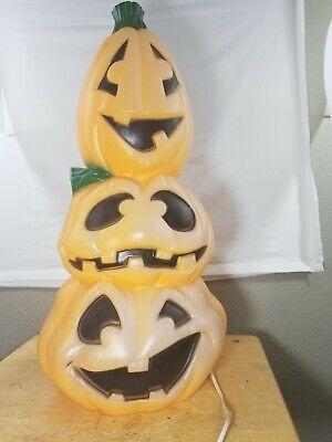 Vintage General Foam Halloween Pumpkin Blow Mold Stacking totem Jack-o- Lanterns