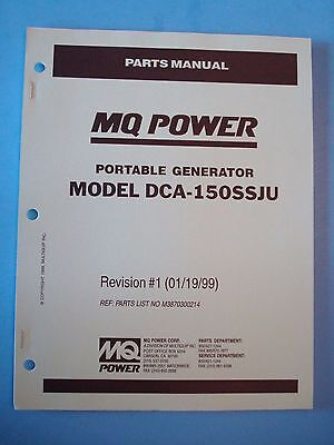 Mq Power Dca-150ssju Portable Generator Parts Manual Revision 1 011999