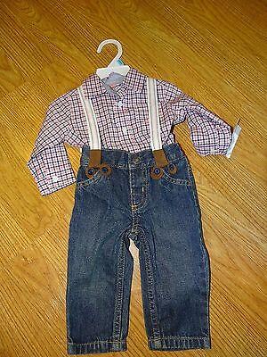Carter's Baby Boys' 3-Piece Suspender Set Size 6 Months jeans/plaid shirt NWT