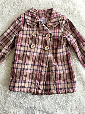 Genuine Kids Coat Girls Size 12 Month Brown Pink Plaid Cotton Button Up Pea Coat