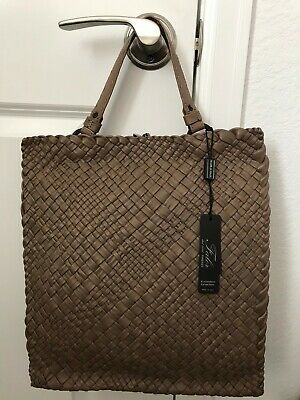 NWT  Falorni FALOR NEUTRAL Hand Woven Italy Intrecciato Leather Tote F2159