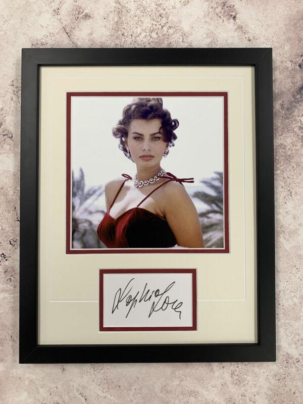 Sophia Loren Signed Cut Jsa Auto Custom Framed Actress