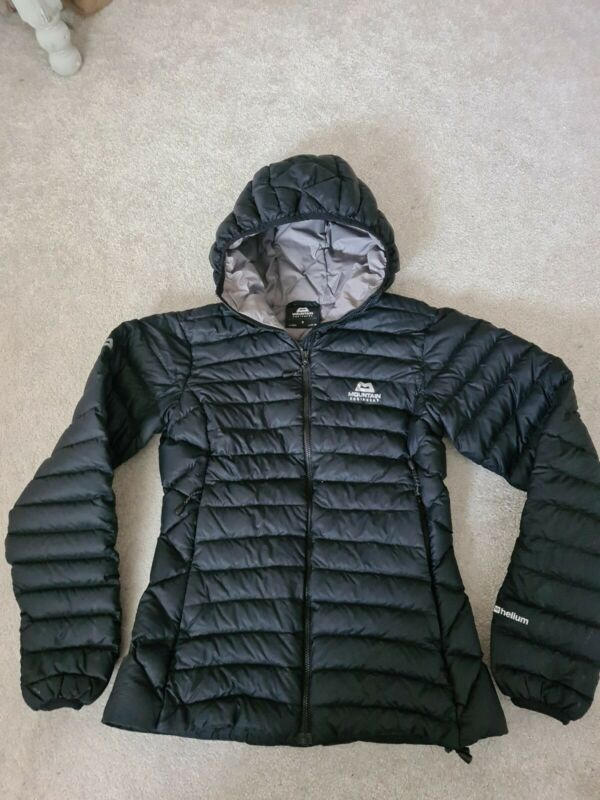 Womens Mountain Equipment Arete Down Hooded Jacket Helium Size 8 Black