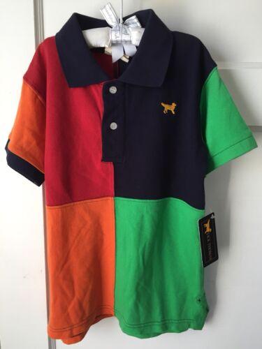 NWT Jack Thomas Dog Boys S/S Colorblock Cotton Collared Polo