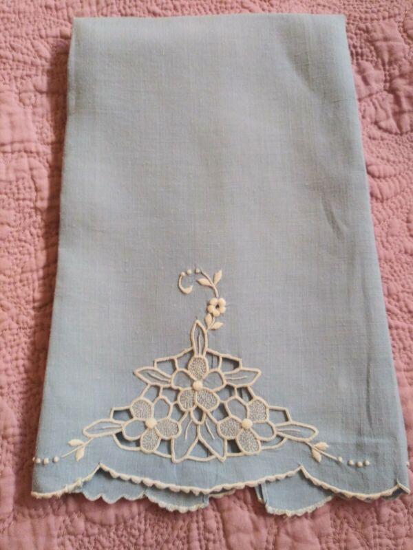 """Beautiful Madeira Embroiderd / Cutwork Blue Linen Hand Towel 20.5"""" x 13"""""""