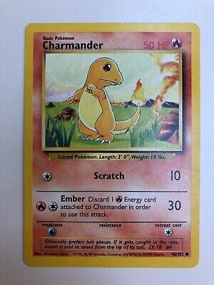 46//102 1x Common Unlimited Edition LP Pokemon Base Set Charmander
