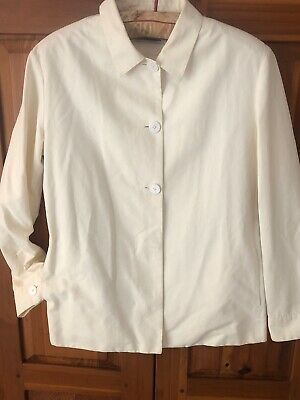 Jil Sander Vintage Iconic Minimalist White Cotton Partial Fly Front Jacket 40